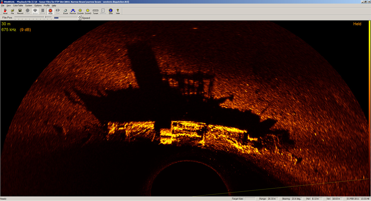 881L Narrow Beam image - wreck of Western Dispatcher