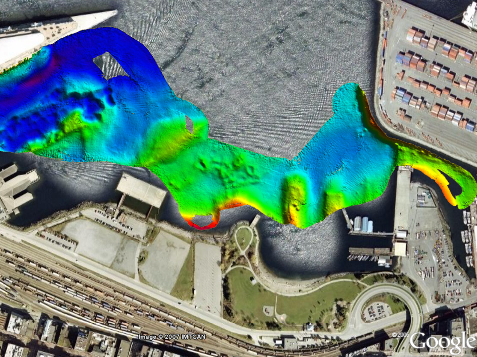 Multibeam data at Canada Place
