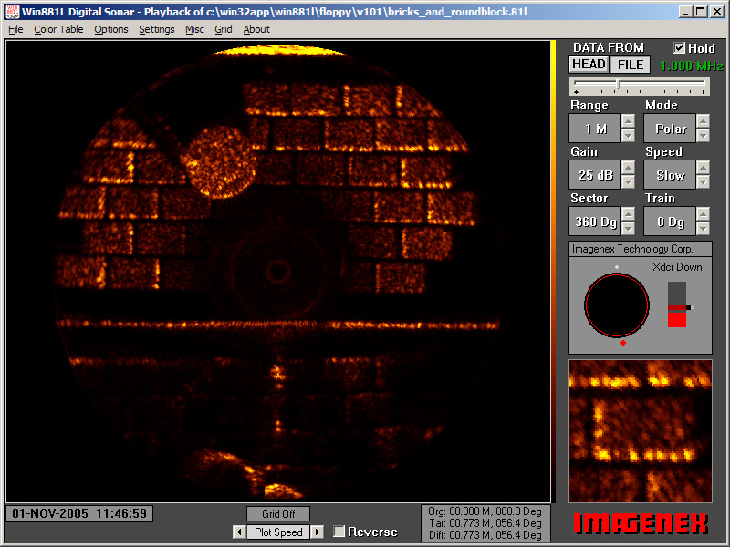 881L image of bricks and a round stepping stone in the test tank